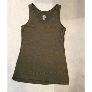4/$25 - Mossimo Olive Green Tank with Gold Details